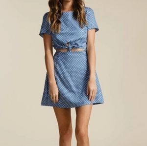 Lucca Couture Star Print Front Cutout Mini Dress